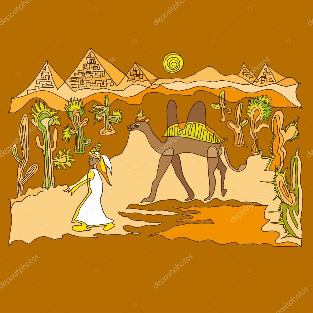 Sahara with camels and dunes