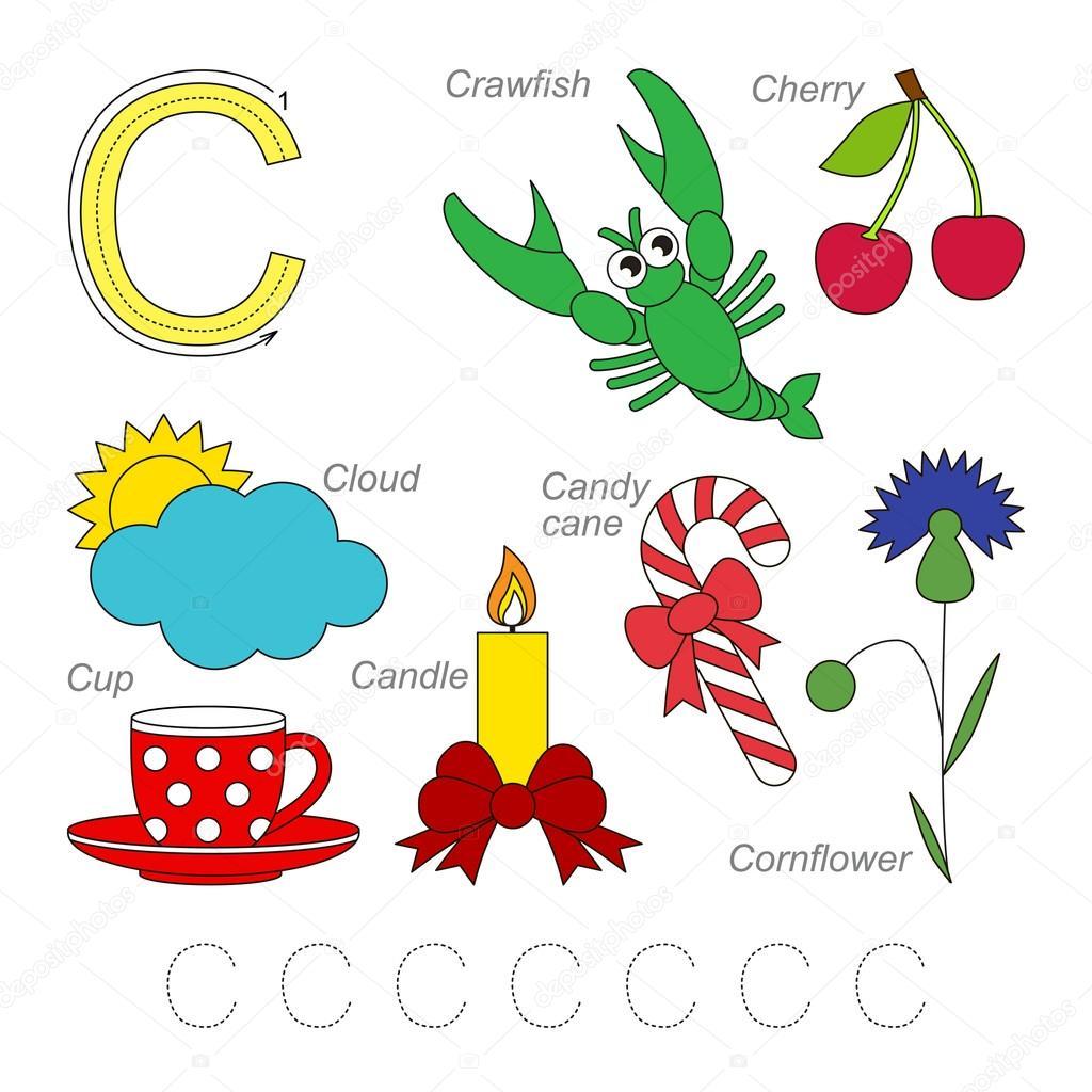 Bilder für den Buchstaben C — Stockvektor © Anna_Mikhailova #100238966