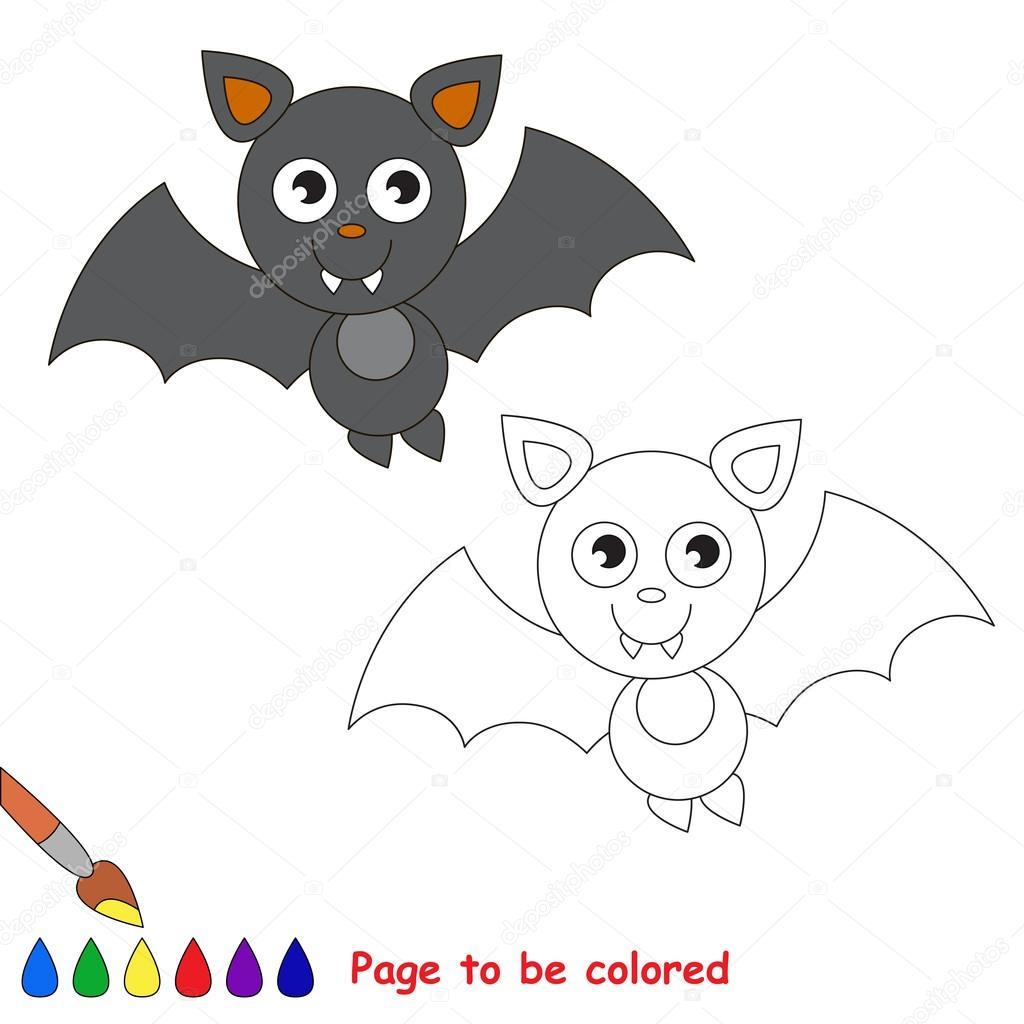 Vampir Yarasa Karikatür Renkli Sayfa Stok Vektör