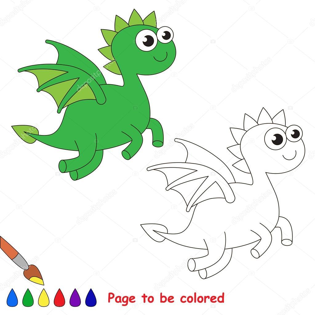 Dibujos animados de Dragon. Página para colorear — Archivo Imágenes ...