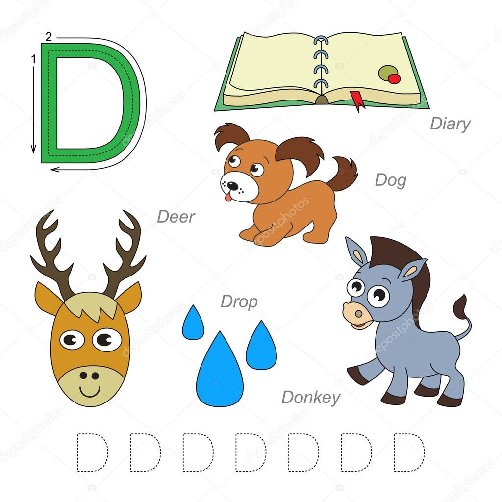 Bilder für den Buchstaben D — Stockvektor © Anna_Mikhailova #102377404