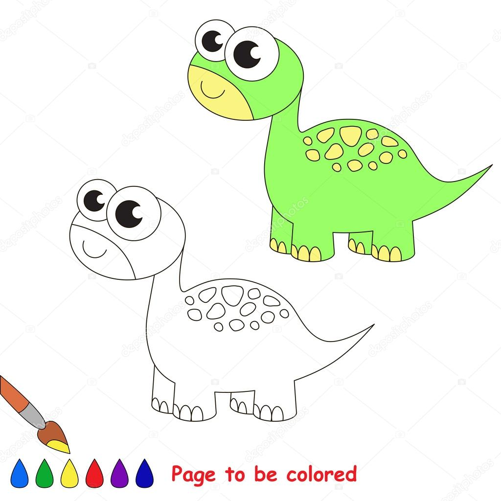 Brontosaurus cartoon. Page to be colored. — Stock Vector ...