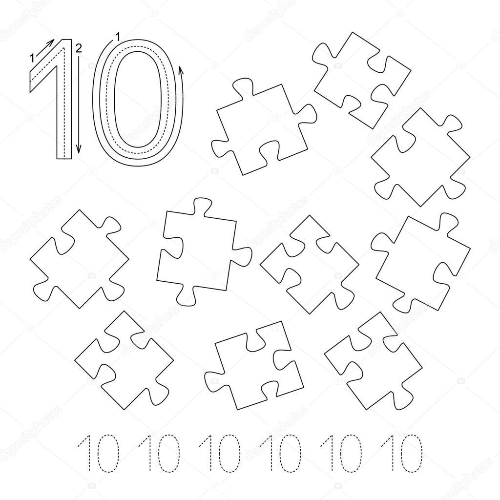 Arbeitsblatt für die Zahl zehn Ablaufverfolgung — Stockvektor ...