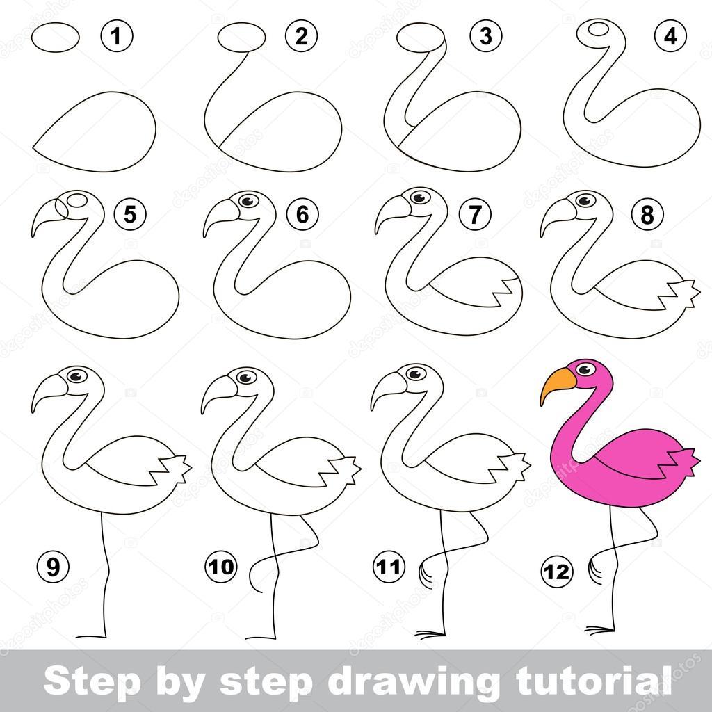 flamingo tekening tutorial stockvector anna mikhailova 102836872. Black Bedroom Furniture Sets. Home Design Ideas