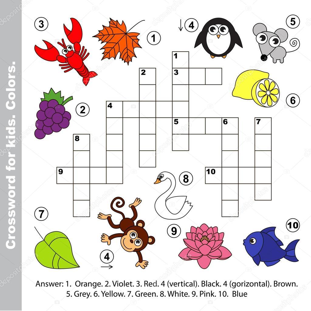 Imágenes Crucigramas Para Niños Nombres De Los Colores