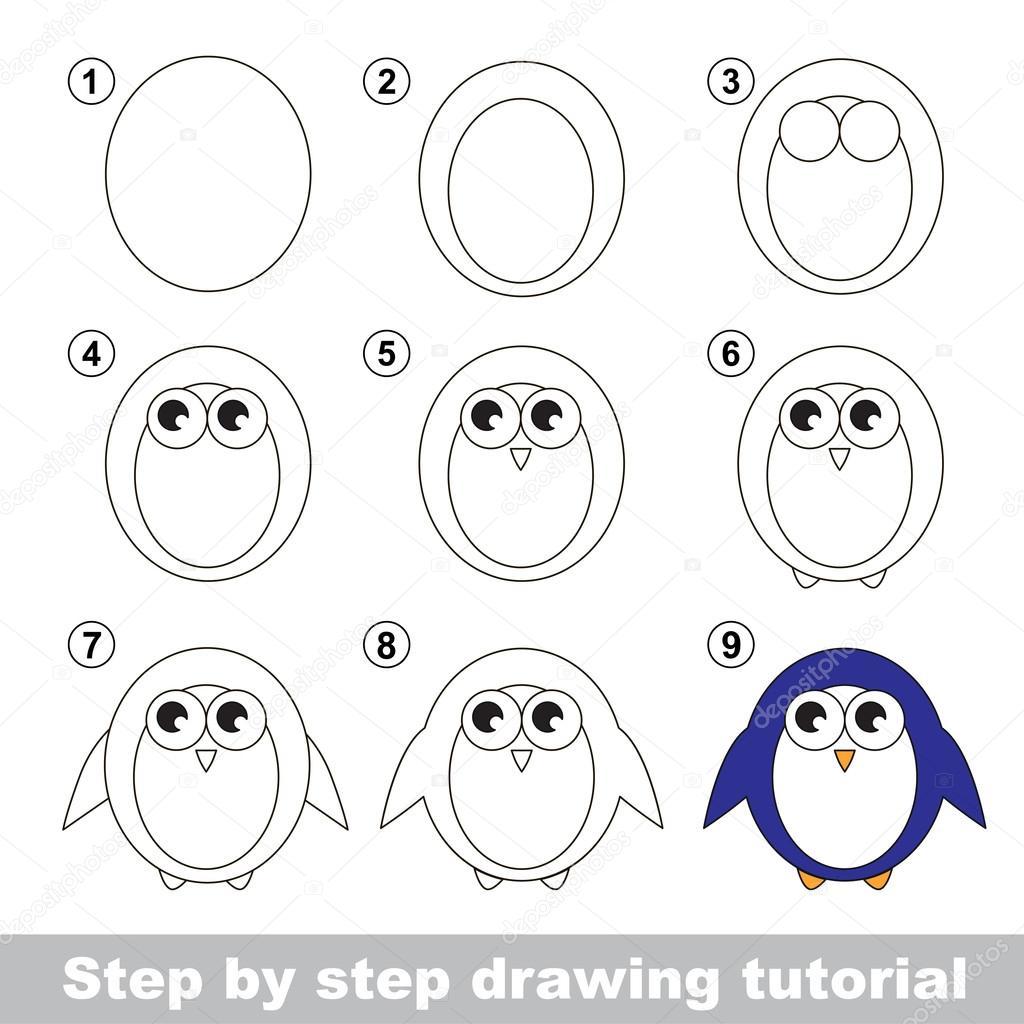 Zeichnung-Lernprogramm. Wie einen Pinguin zeichnen — Stockvektor ...