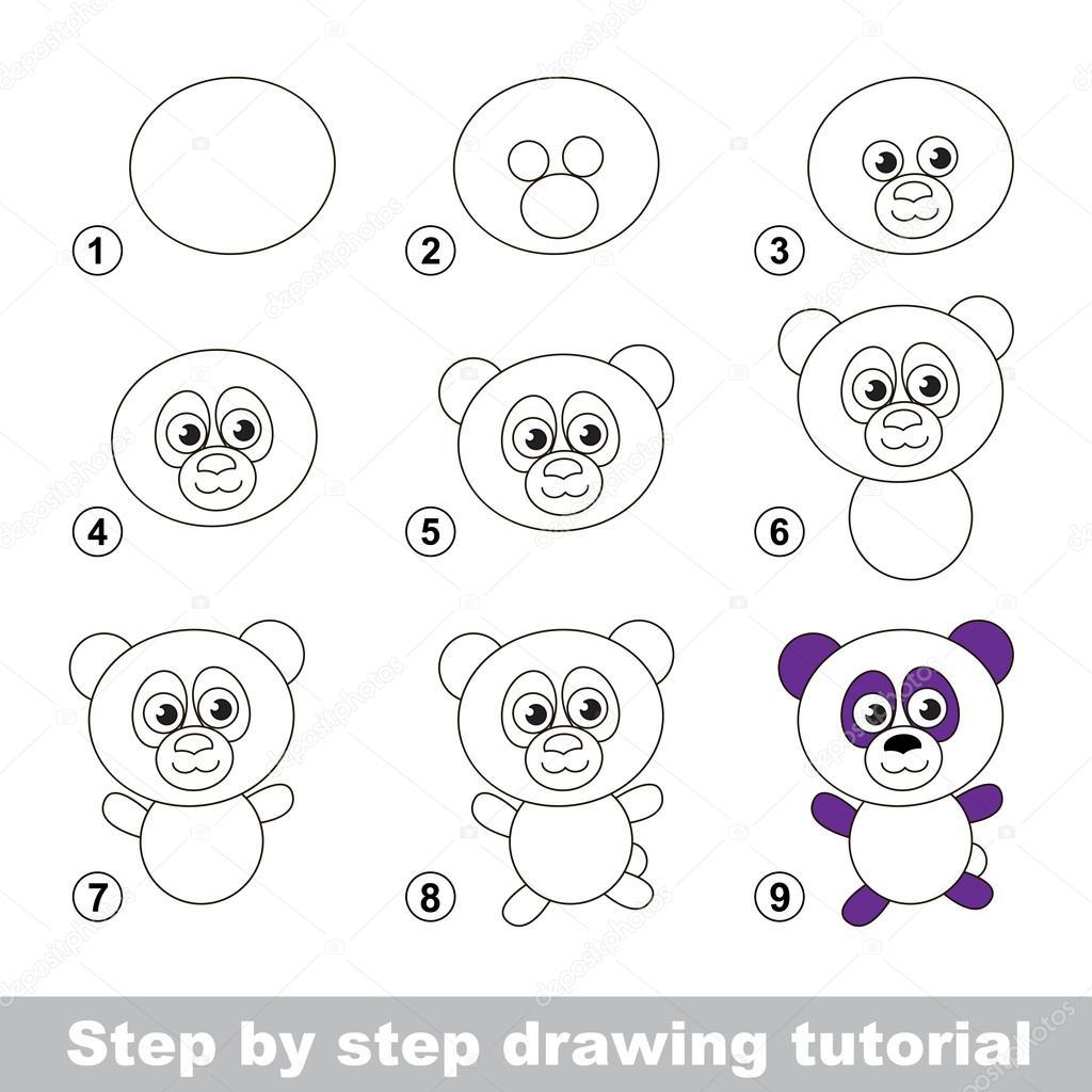 Disegno Tutorial Come Disegnare Un Panda Vettoriali Stock