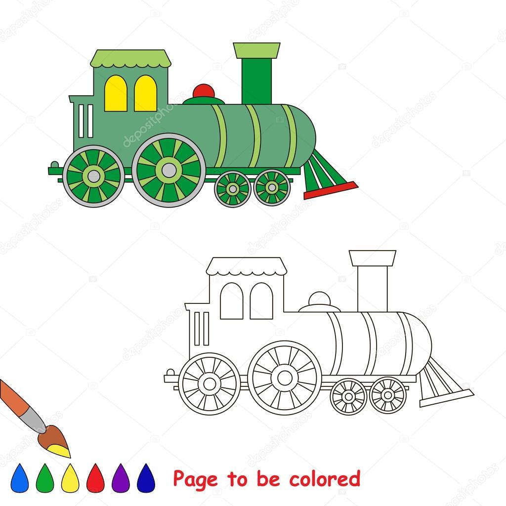 Dibujos animados de la locomotora. Página para colorear — Archivo ...