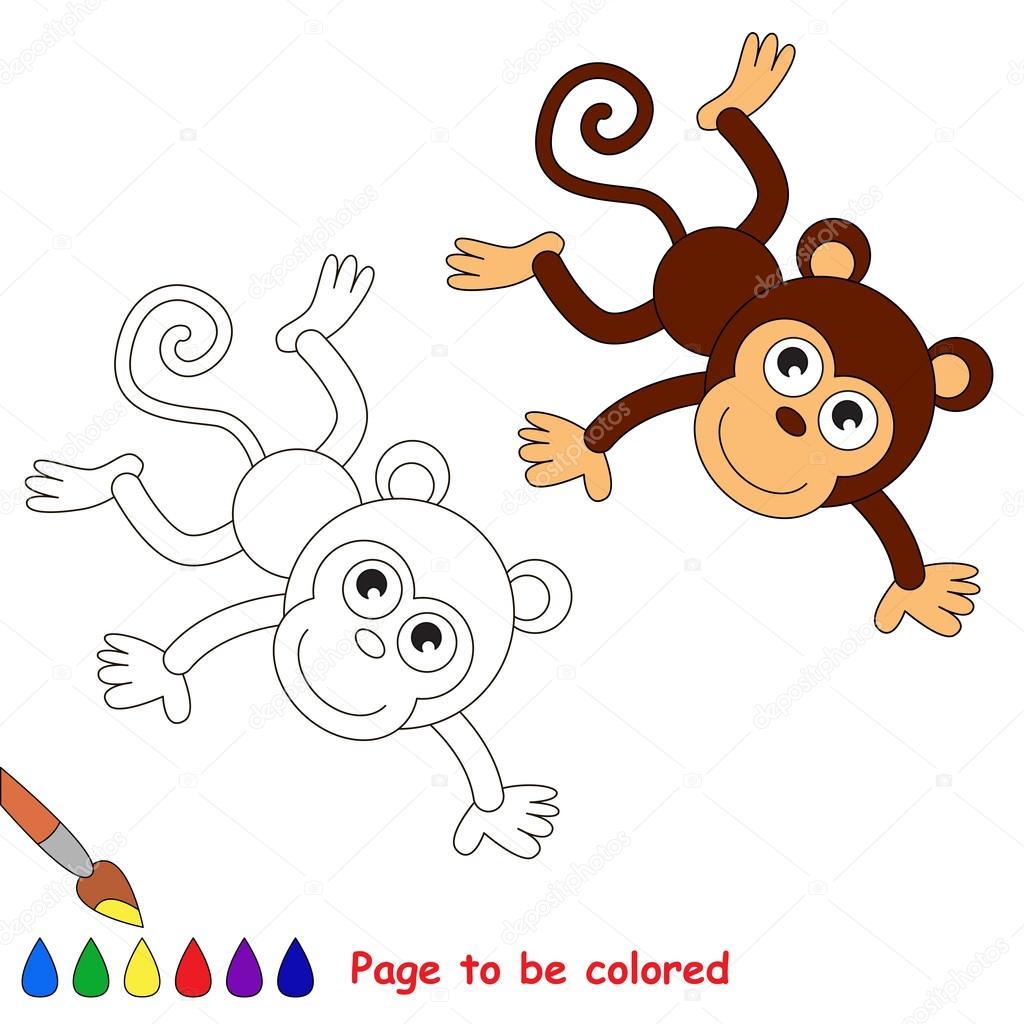 Mono de dibujos animados de vector para colorear — Vector de stock ...