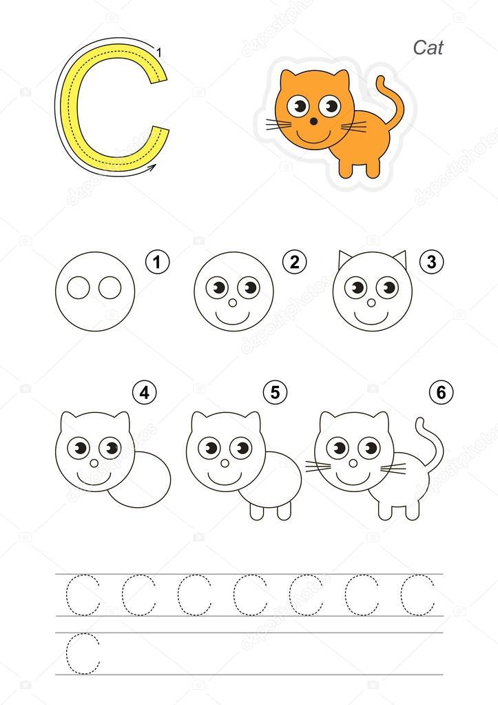 tutorial de desenho jogo para letra c vetores de stock