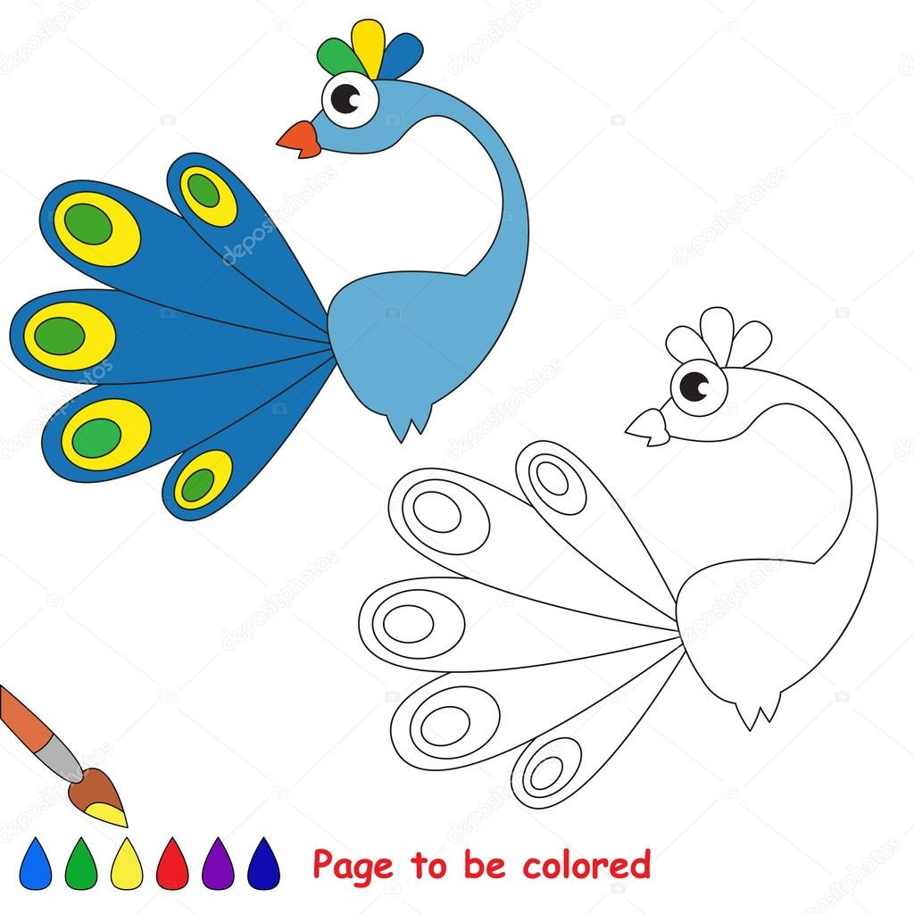 Blue Peacock Cartoon Page To Be Colored Stock Vector
