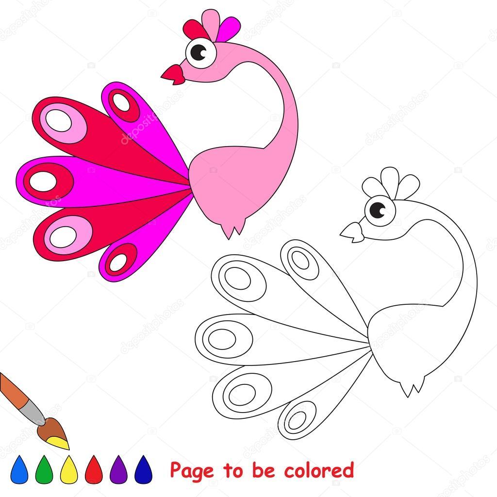 Dibujos de pavo real color de rosa. Página para colorear — Archivo ...