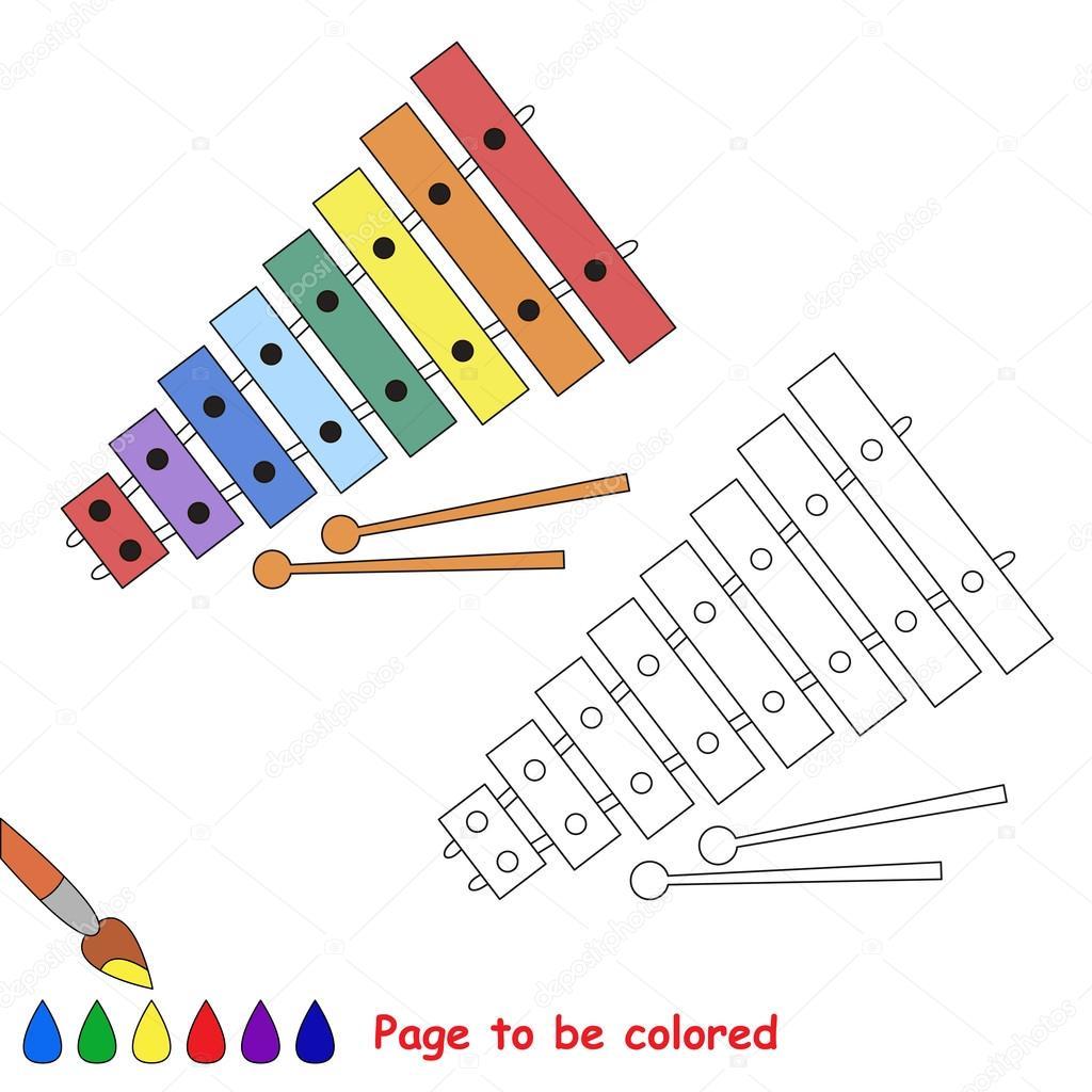 Animado Xilofono Para Colorear Dibujos Animados Xilófono Página