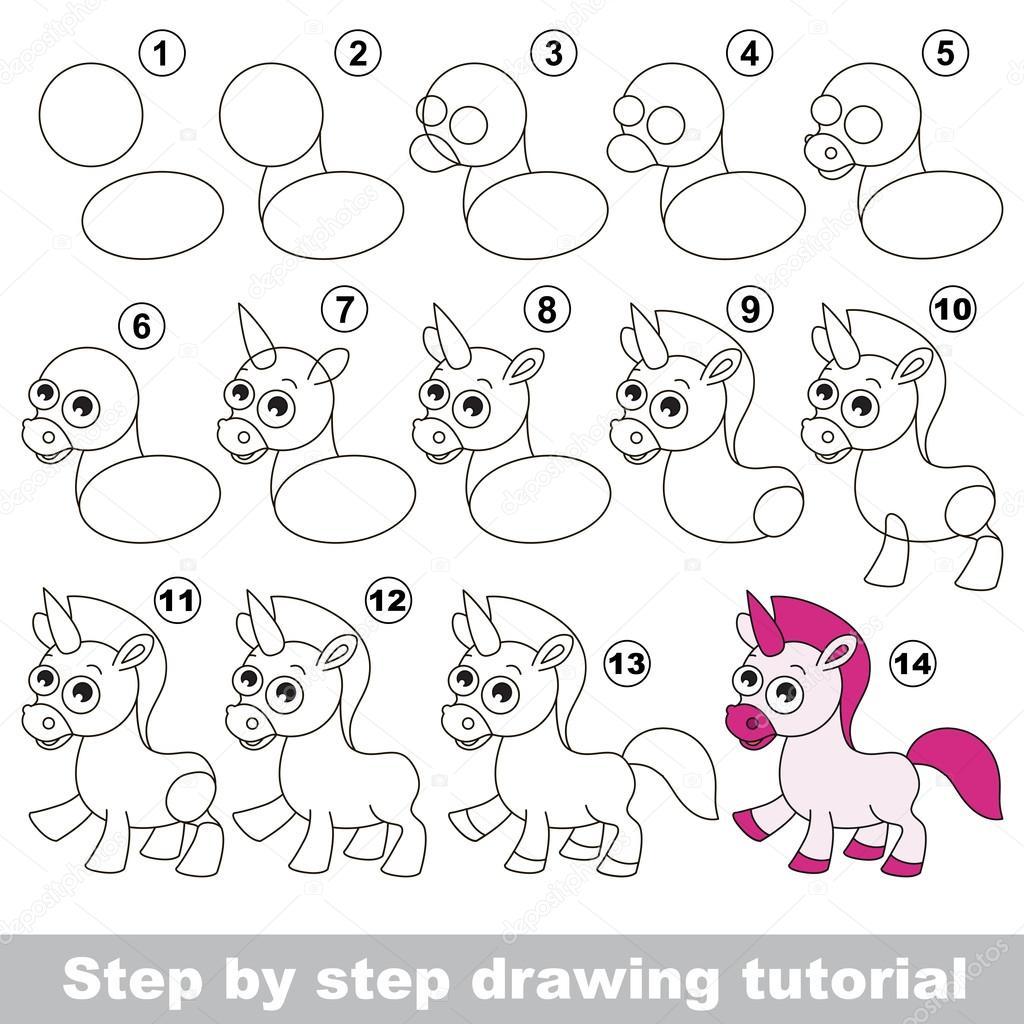 tutoriel de dessin pour les enfants comment dessiner la licorne drle vecteur par anna_mikhailova - Comment Dessiner Une Licorne
