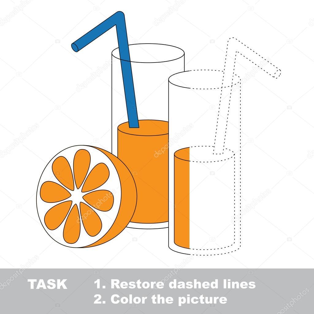 Vaso de jugo de naranja para colorear. Juego de rastreo Vector ...