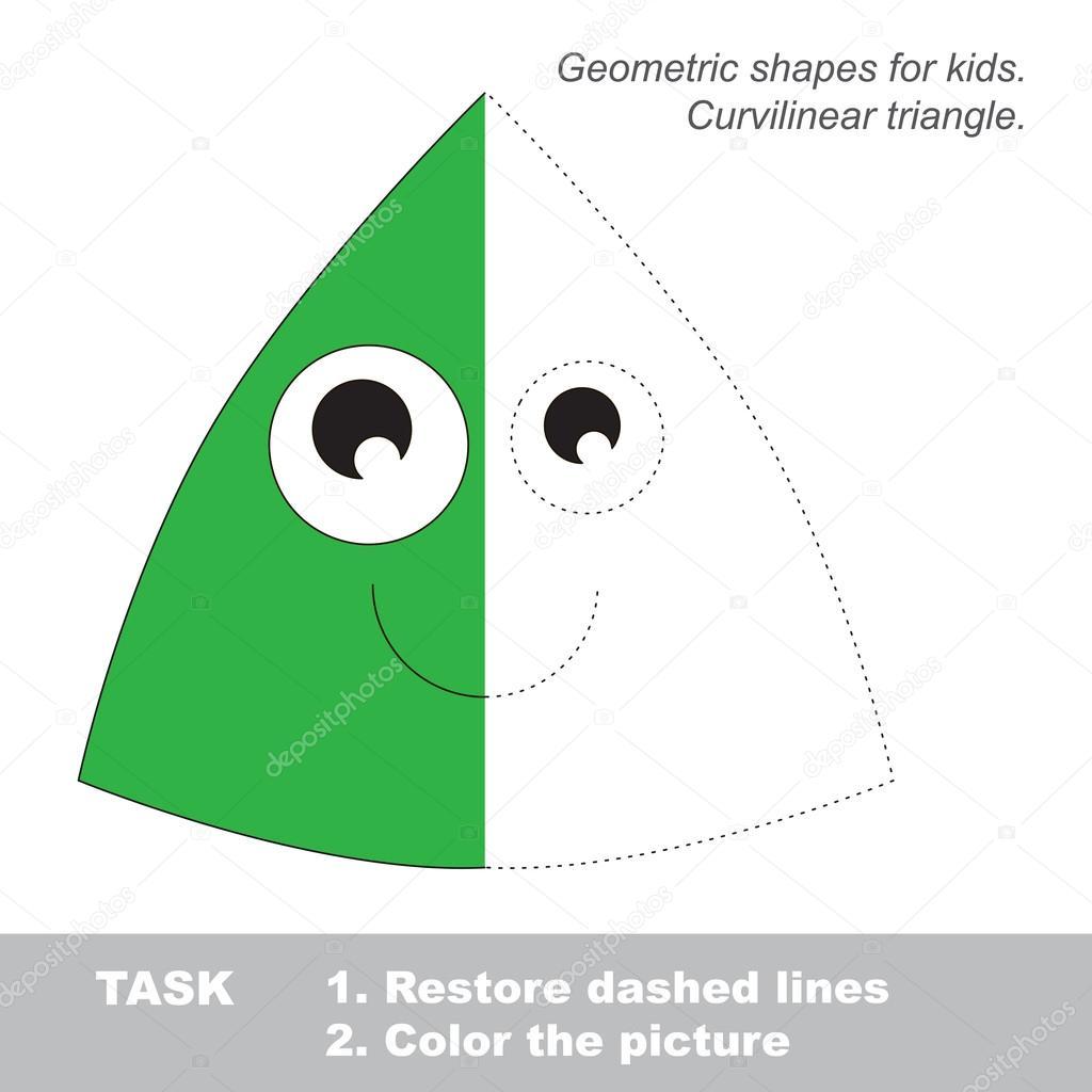 Triángulo curvilíneo para colorear. Juego de rastreo Vector ...
