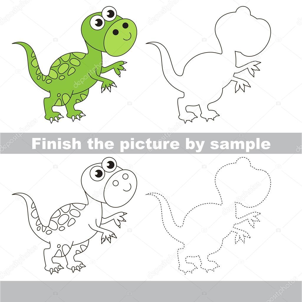 Tyrannosaurus. Zeichnung-Arbeitsblatt — Stockvektor ...