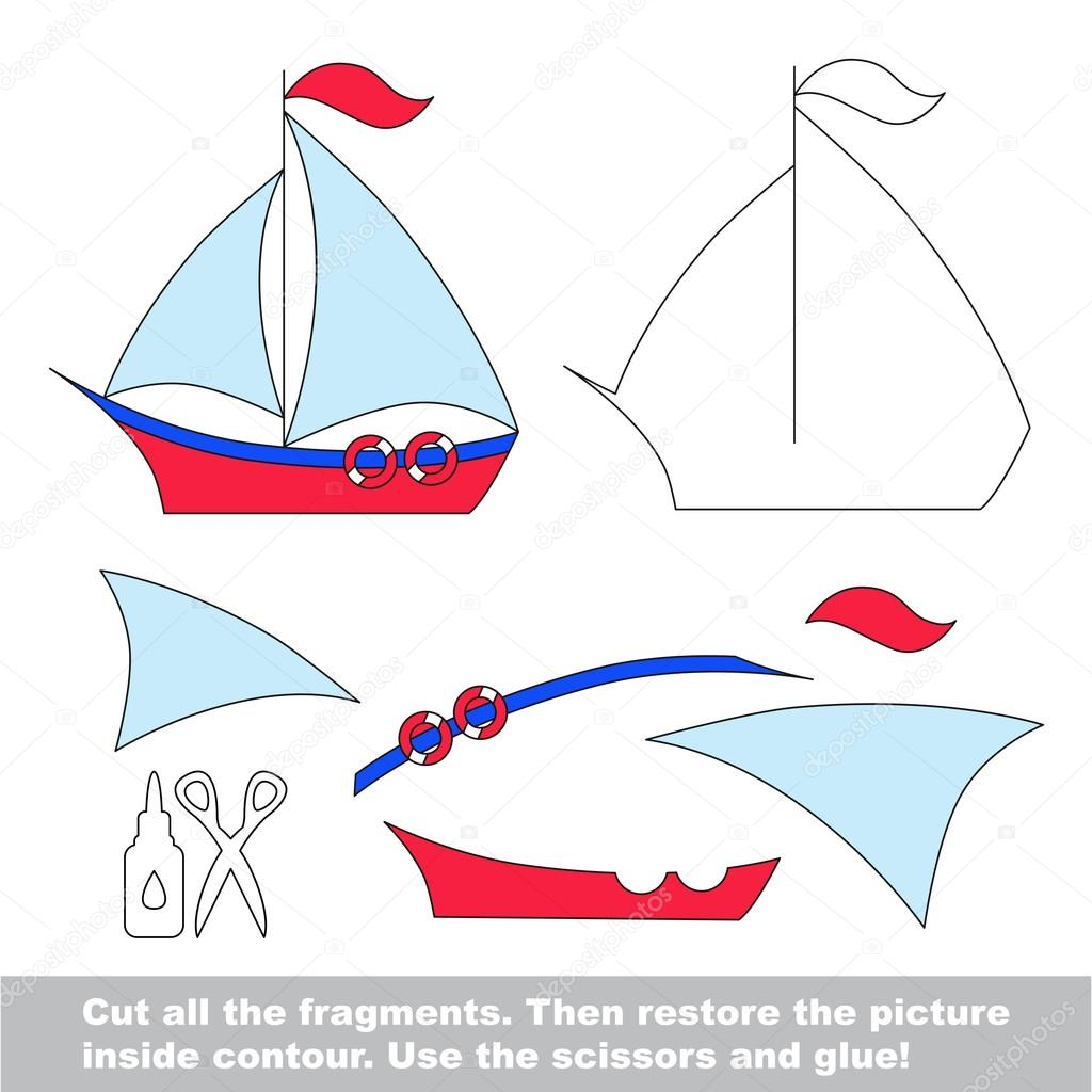 documento de juego para nios aplicacin de simple chaval con barco u vector de