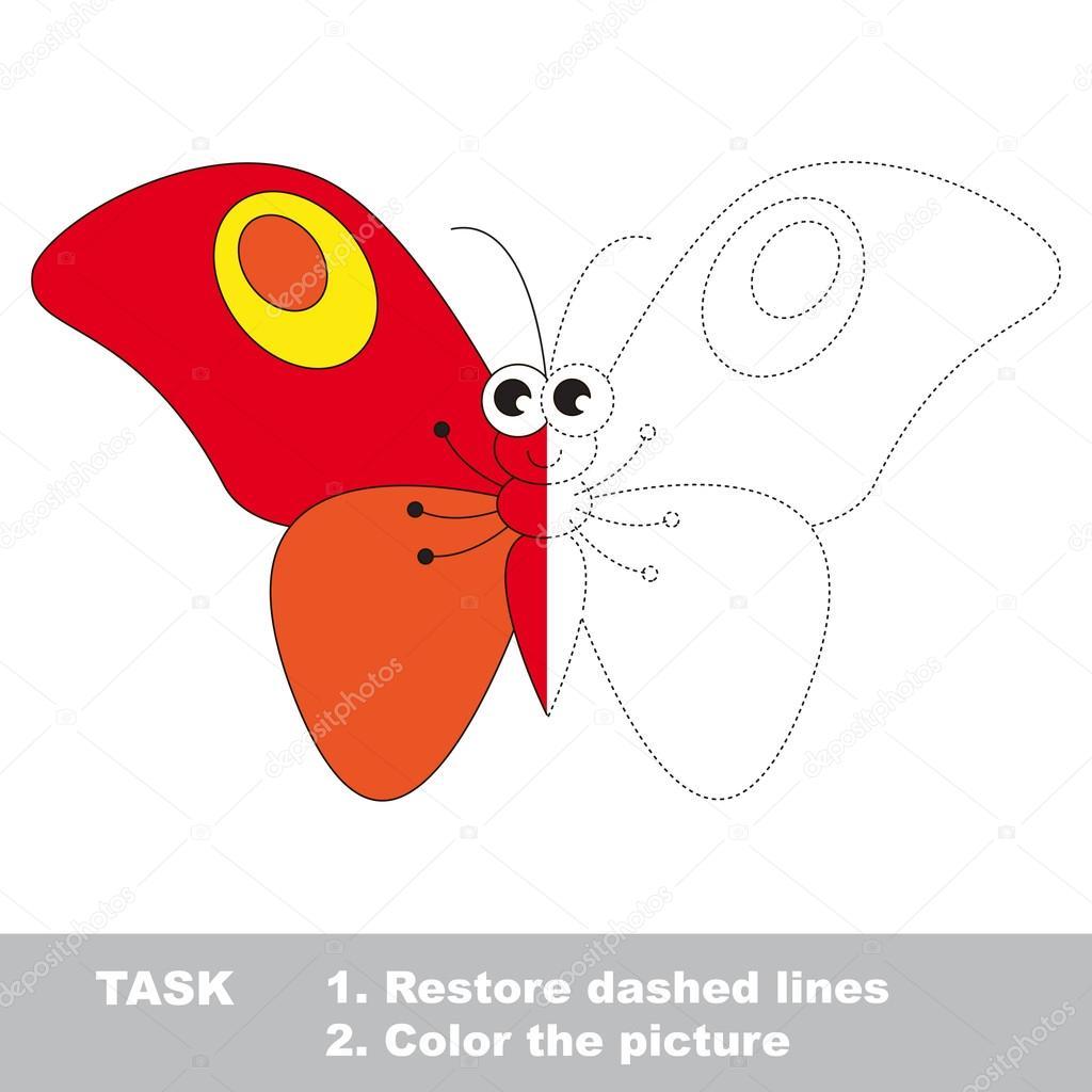 Mariposa roja para colorear. Juego de rastreo Vector — Vector de ...
