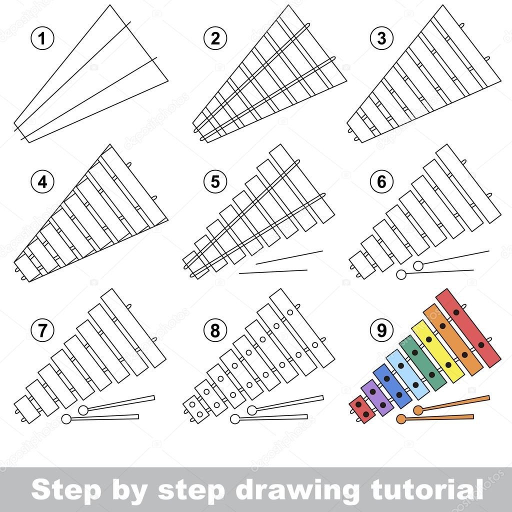 Xylophone. Drawing tutorial. — Stock Vector © Anna_Mikhailova #106802076 for Xylophone Drawing For Kids  174mzq