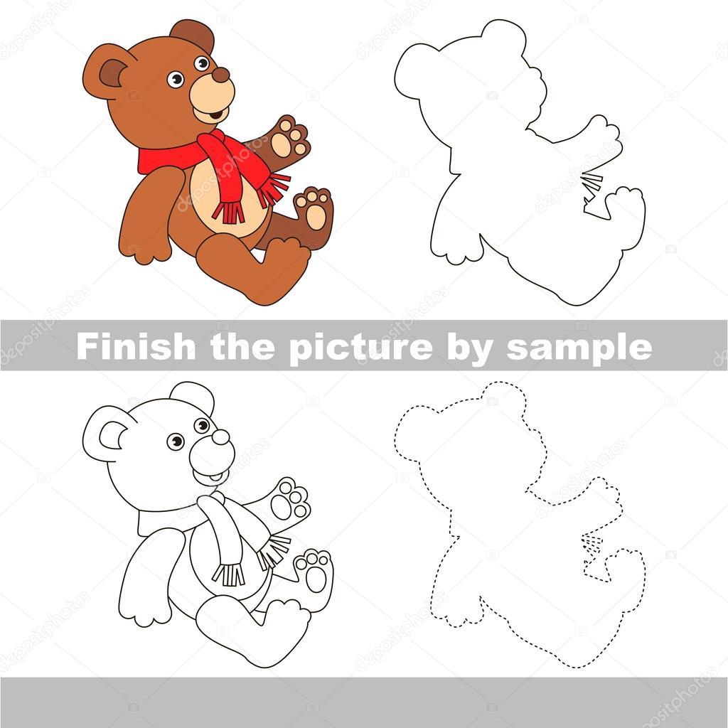 Spielzeug-Bär. Zeichnung-Arbeitsblatt — Stockvektor ...