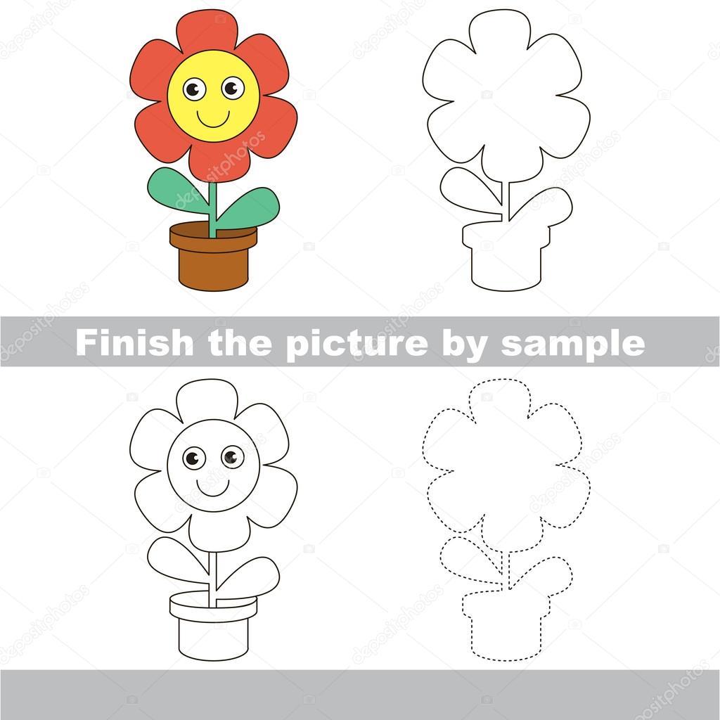 Flower Picture Drawing Easy Flower Drawing Worksheet Stock Vector C Anna Mikhailova 106970568