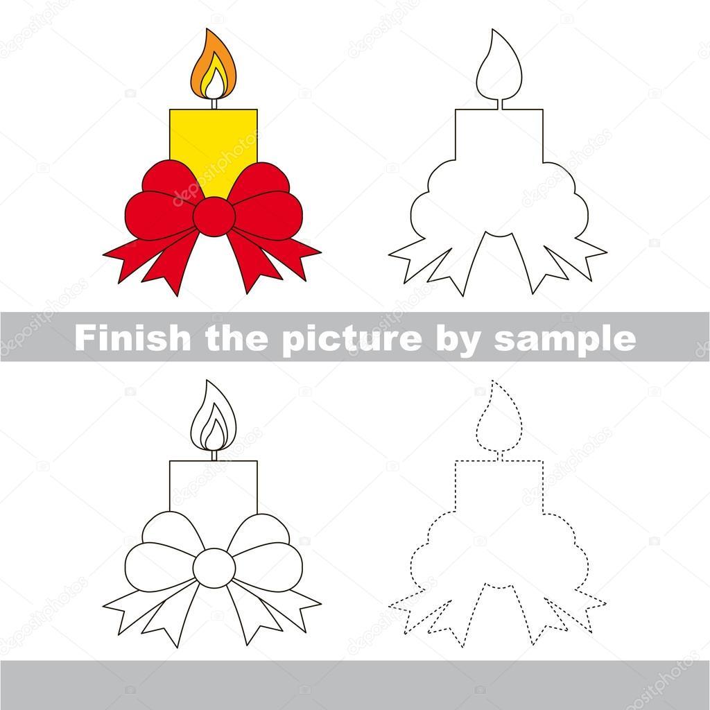 Kerze. Zeichnung-Arbeitsblatt — Stockvektor © Anna_Mikhailova #106971328