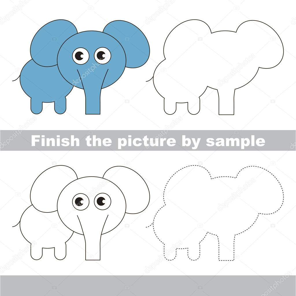 Elefant. Zeichnung-Arbeitsblatt — Stockvektor © Anna_Mikhailova ...