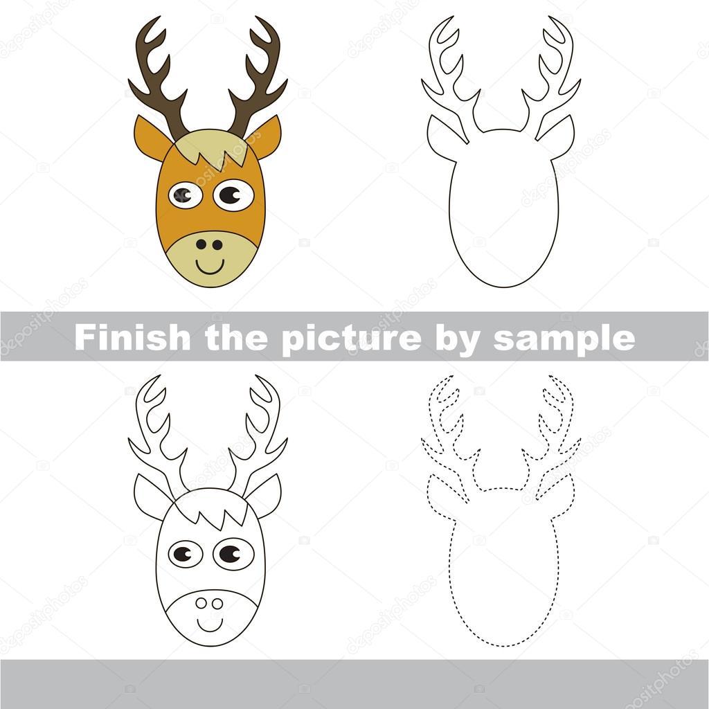 Cabeza de ciervo. Dibujo de hoja de cálculo — Archivo Imágenes ...