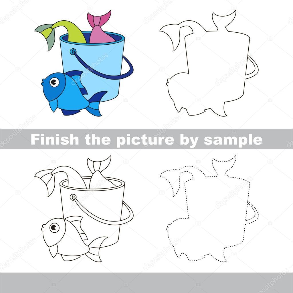 Fische zu fangen. Zeichnung-Arbeitsblatt — Stockvektor ...