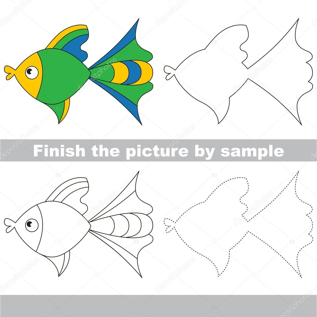Fisch. Zeichnung-Arbeitsblatt — Stockvektor © Anna_Mikhailova #106975840