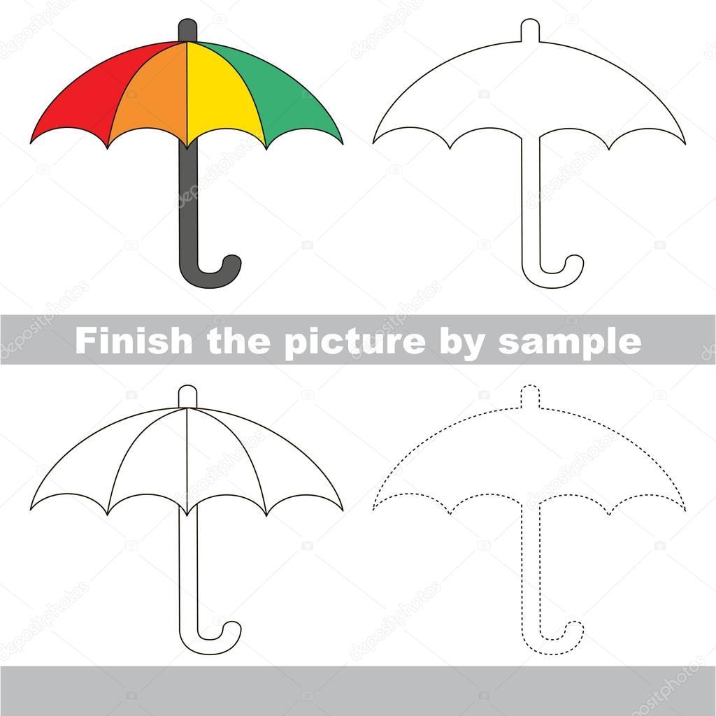 Regenschirm. Zeichnung-Arbeitsblatt — Stockvektor © Anna_Mikhailova ...