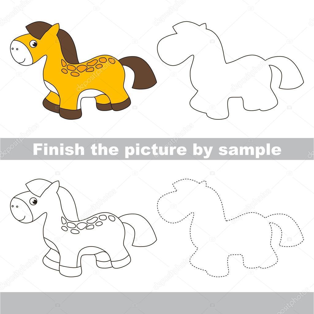 Magnifiek Speelgoed paard. Tekening werkblad — Stockvector © Anna_Mikhailova #ZS96