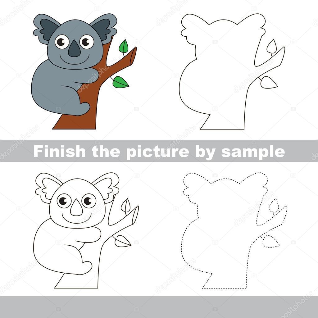 Koala. Zeichnung-Arbeitsblatt — Stockvektor © Anna_Mikhailova #107022880