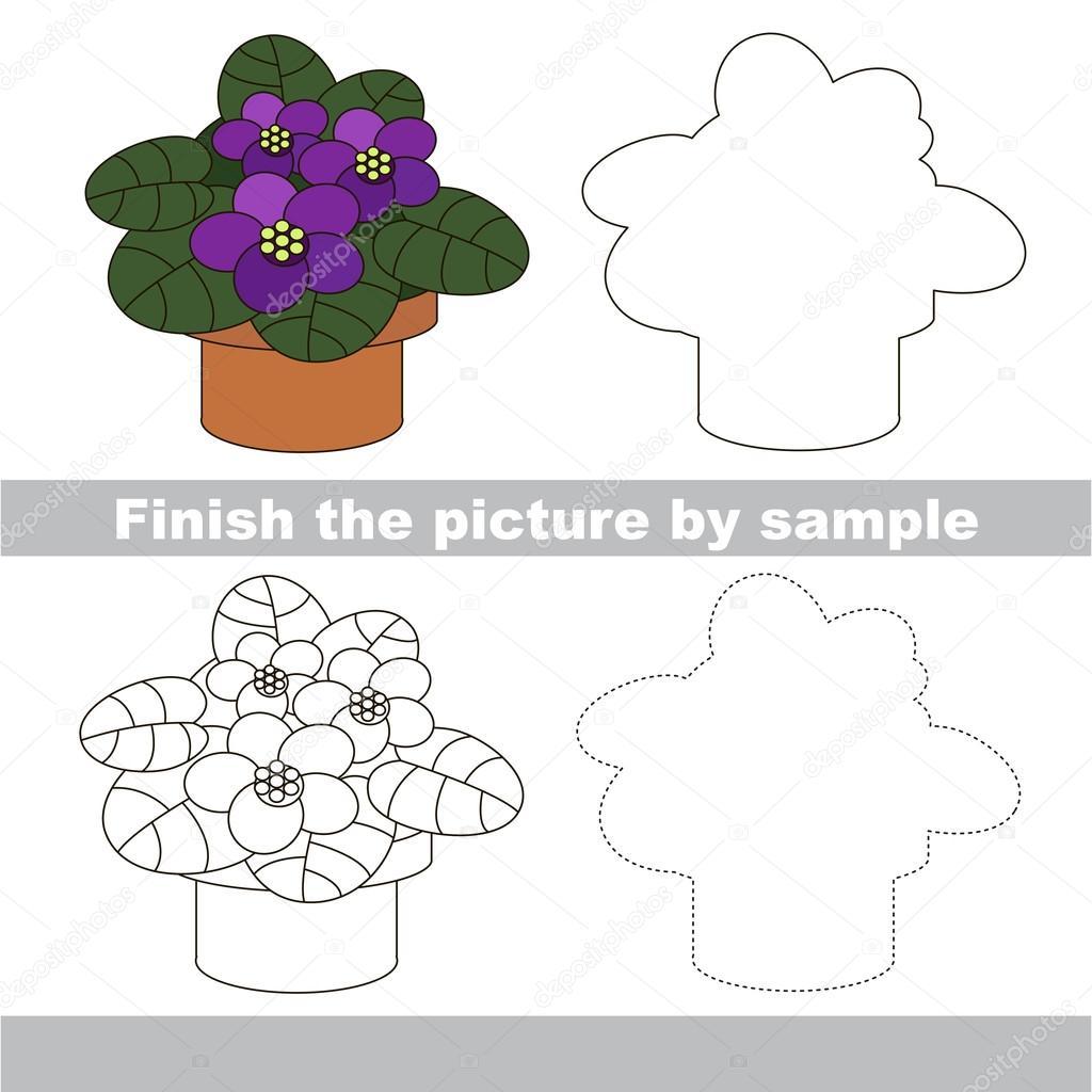 Topf Blüte. Violet. Zeichnung-Arbeitsblatt — Stockvektor ...