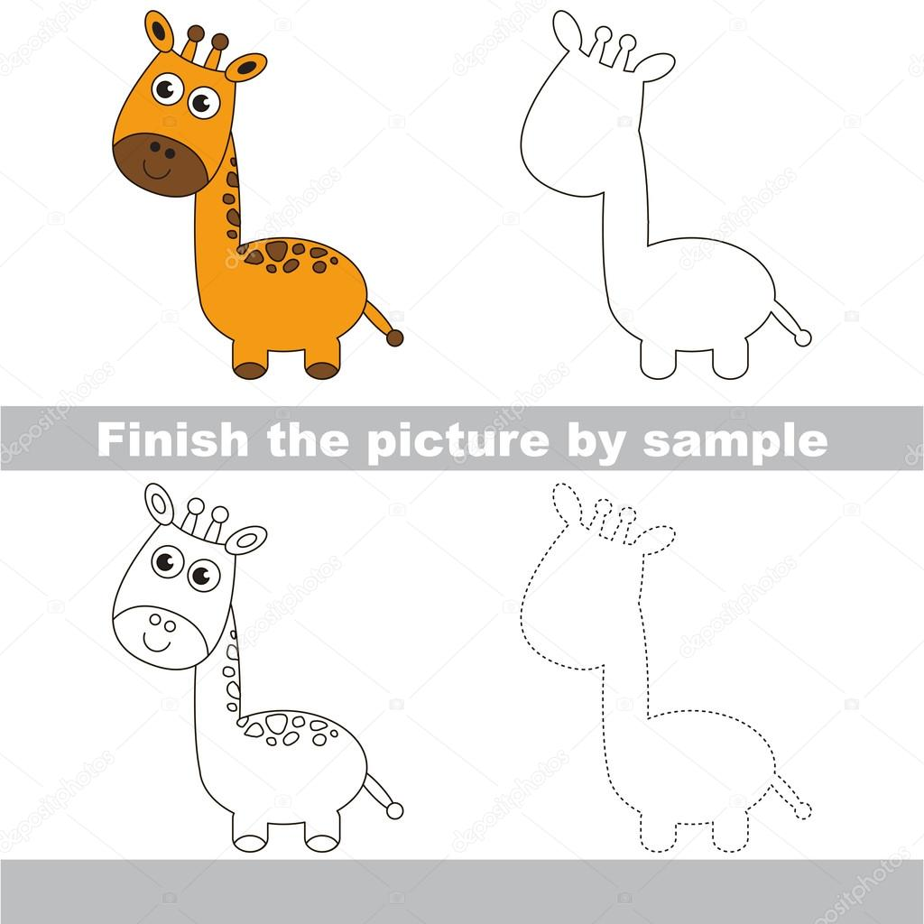 Giraffe. Zeichnung-Arbeitsblatt — Stockvektor © Anna_Mikhailova ...