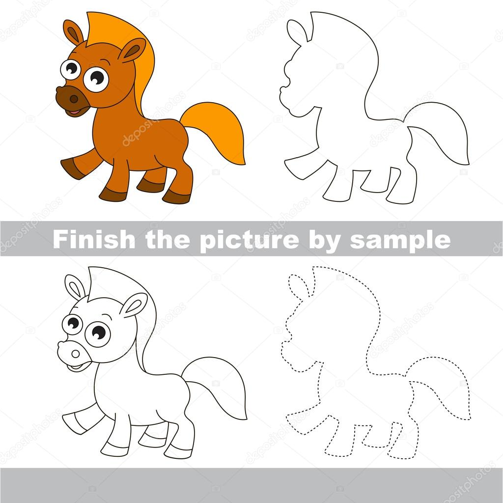 Bekend Paard. Tekening werkblad — Stockvector © Anna_Mikhailova #107142928 @RM81