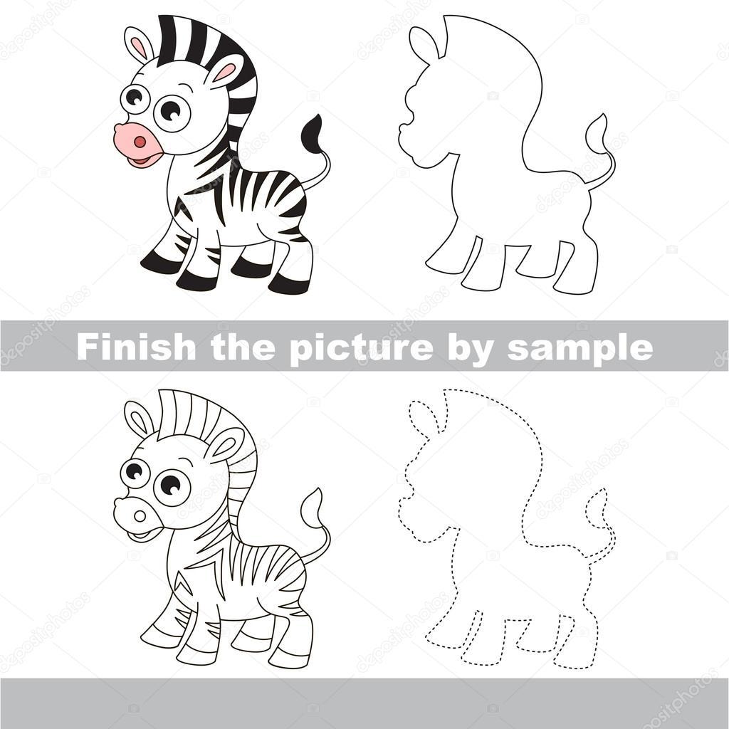Zebra. Zeichnung-Arbeitsblatt — Stockvektor © Anna_Mikhailova #107151924