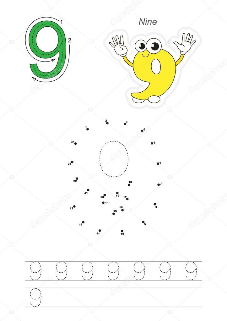Zahlenspiel für Abbildung 9 — Stockvektor © Anna_Mikhailova #107436632