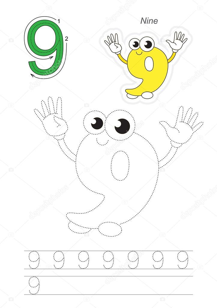 Seguimiento de juego figura nueve — Vector de stock ...