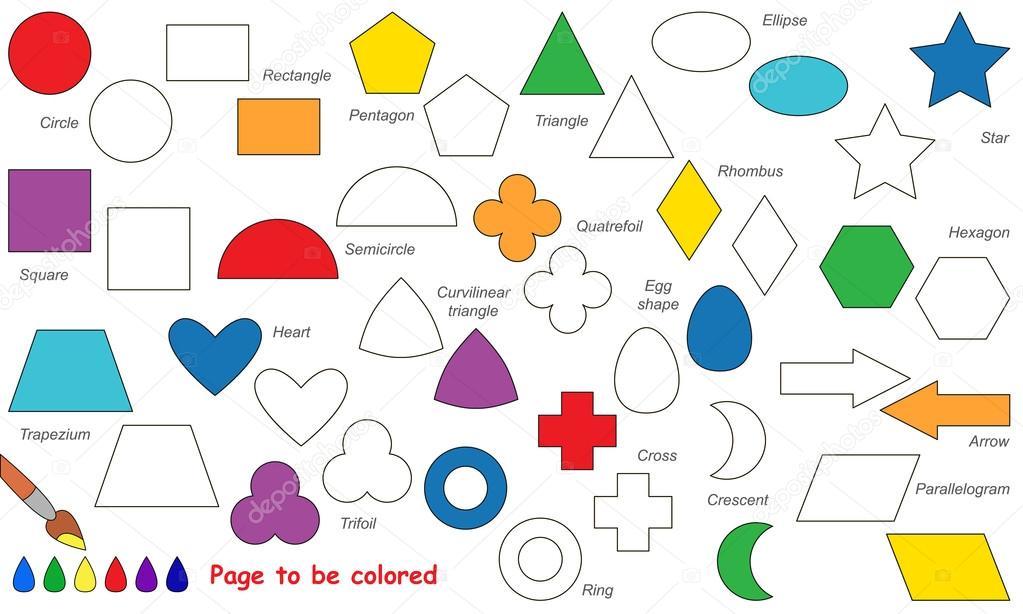 Conjunto de dibujos de formas geométricas simples. Página para ...