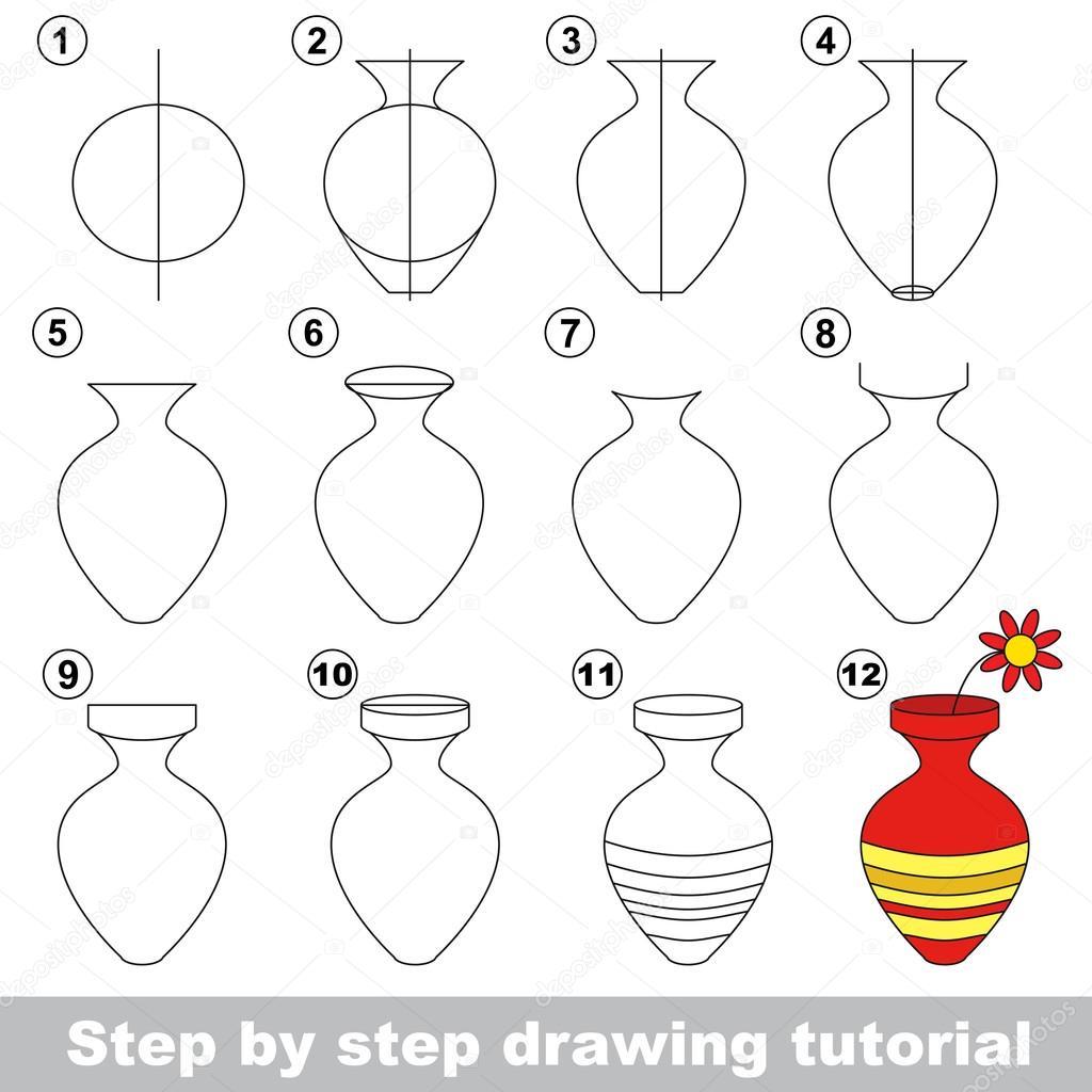 Vaso Disegno Tutorial Vettoriali Stock Anna Mikhailova 107715250