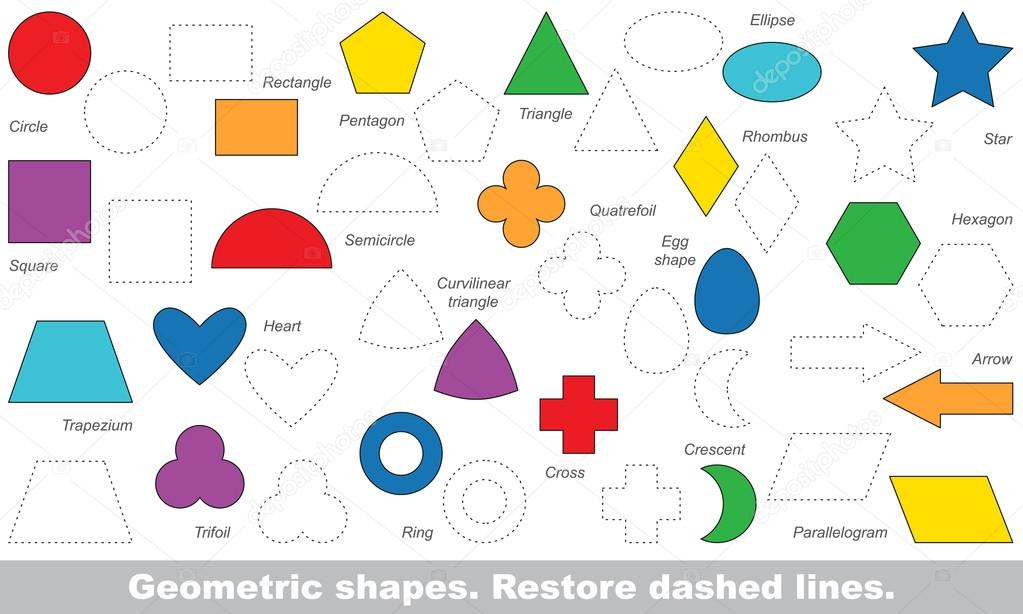 set of simple shapes to be traced vector trace game stock vector - Simple Shapes