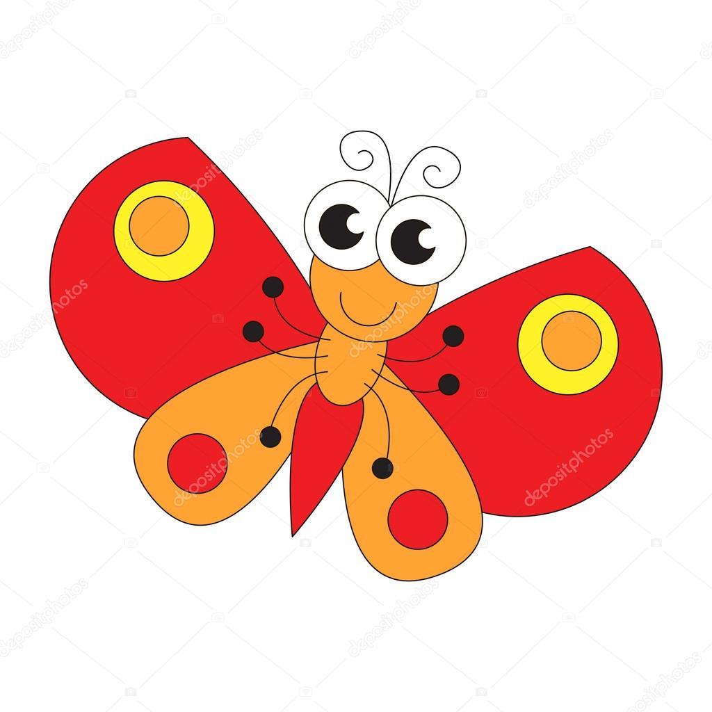 Dibujos Animados De Mariposa Divertida Página Para Colorear