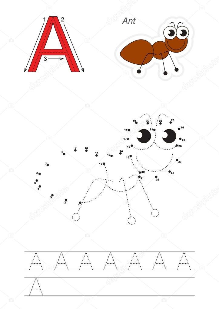 Spiel mit Zahlen für den Buchstaben A — Stockvektor ...
