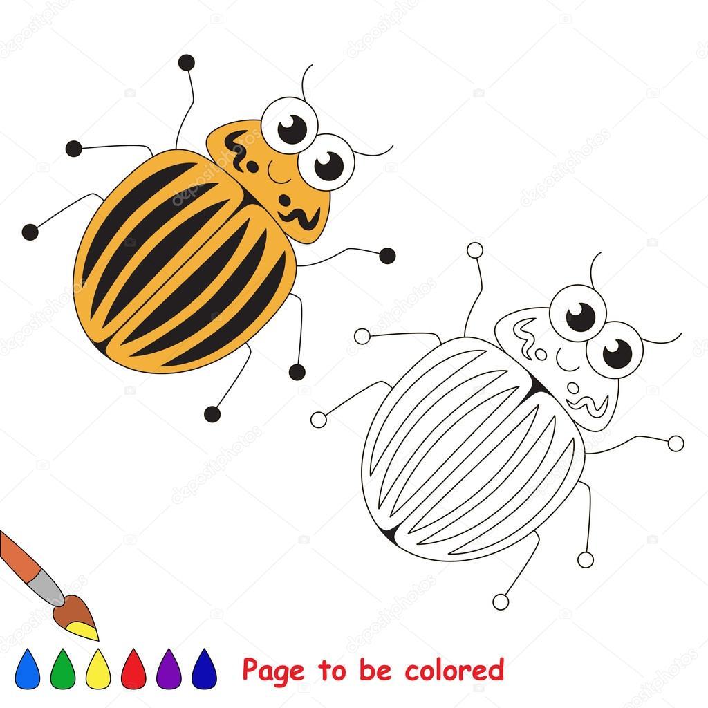 Dibujos animados de escarabajo de patata de Colorado. Página para ...