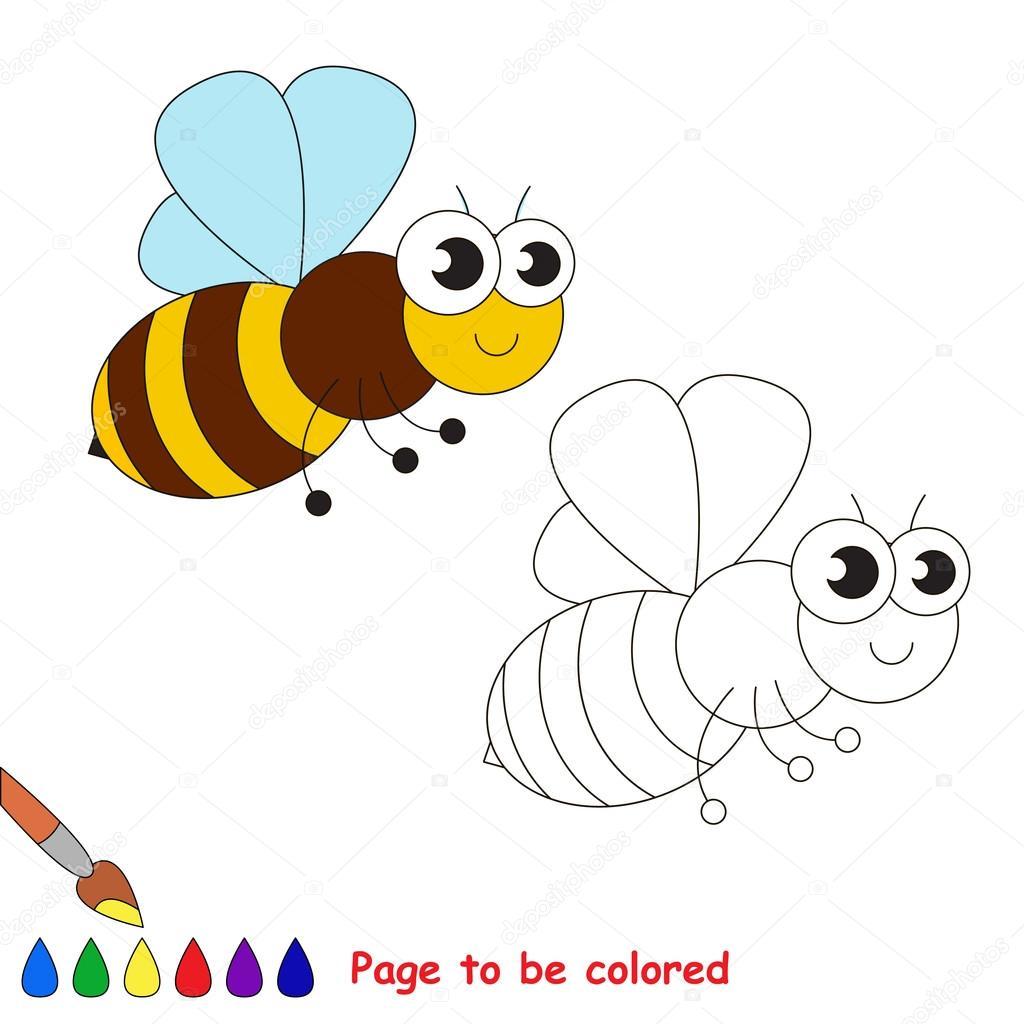 Dibujos animados de la abeja lindo. Página para colorear — Vector de ...
