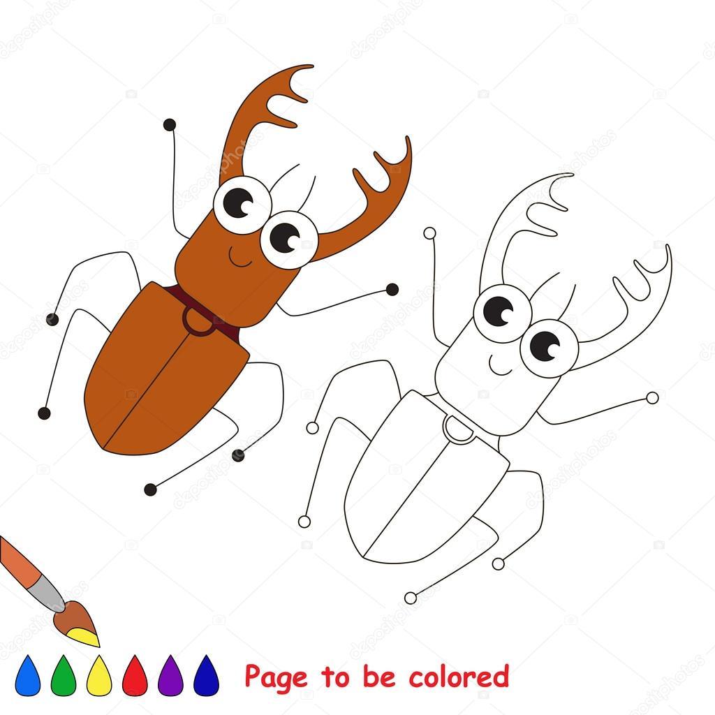 Dibujos animados de escarabajo. Página para colorear — Vector de ...