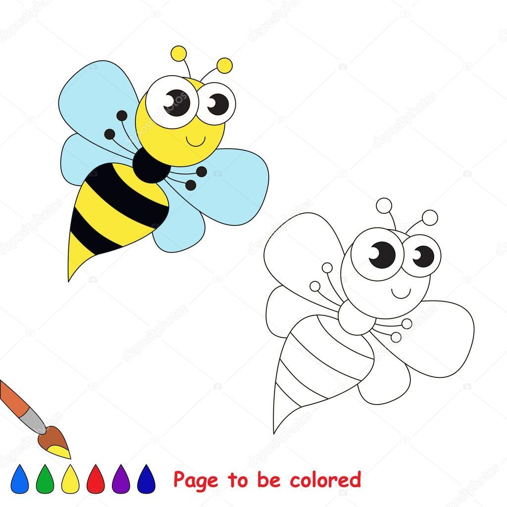 Dibujos animados divertida avispa. Página para colorear — Archivo ...