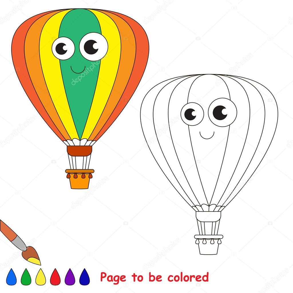Dibujos animados de globo aerostático. Página para colorear — Vector ...